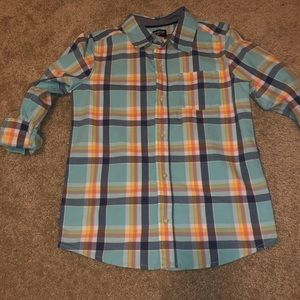 Oshkosh button down plaid shirt boys 10/12